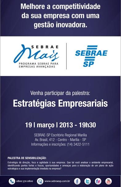 Palestra Estratégias Empresariais - SEBRAE