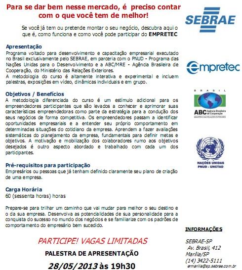 Empretec Sebrae 2013